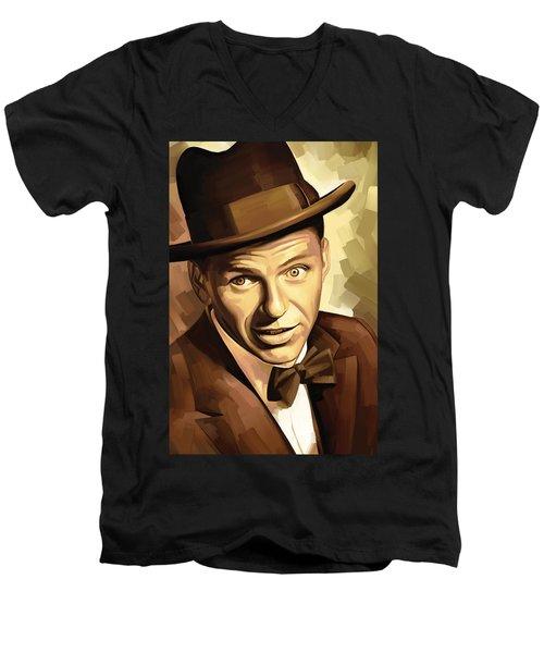 Frank Sinatra Artwork 2 Men's V-Neck T-Shirt by Sheraz A