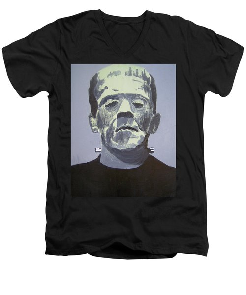 Frankenstein Men's V-Neck T-Shirt by Dan Twyman