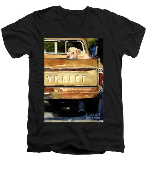 Free Ride Men's V-Neck T-Shirt by Molly Poole