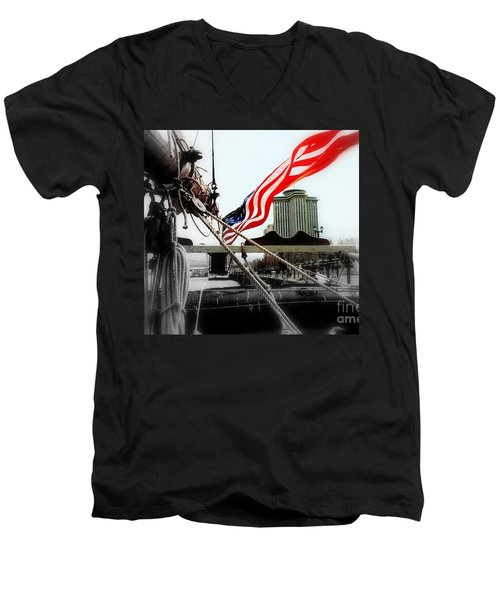 Freedom Sails Men's V-Neck T-Shirt by Michael Hoard