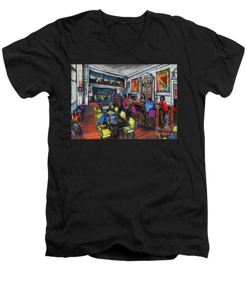 French Cafe Interior Men's V-Neck T-Shirt