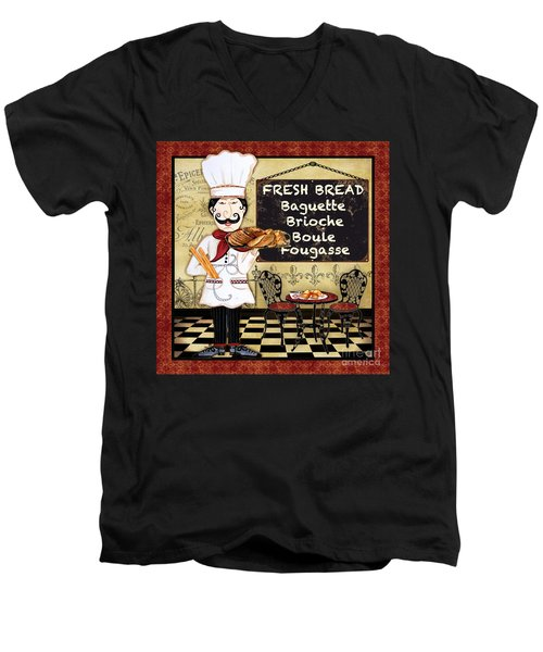 French Chef-a Men's V-Neck T-Shirt by Jean Plout