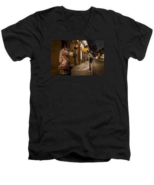 Men's V-Neck T-Shirt featuring the photograph French Quarter Hitching Post by Tim Stanley