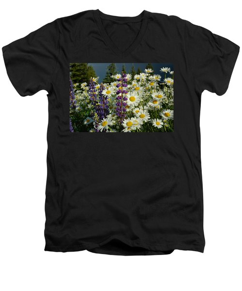 Men's V-Neck T-Shirt featuring the photograph Frisco Flowers by Lynn Bauer