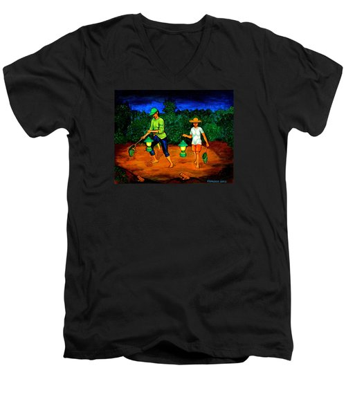 Men's V-Neck T-Shirt featuring the painting Frog Hunters by Cyril Maza