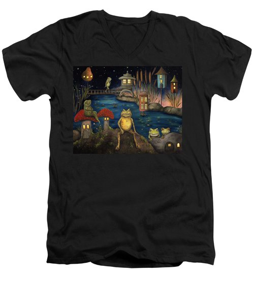Frogland Men's V-Neck T-Shirt by Leah Saulnier The Painting Maniac