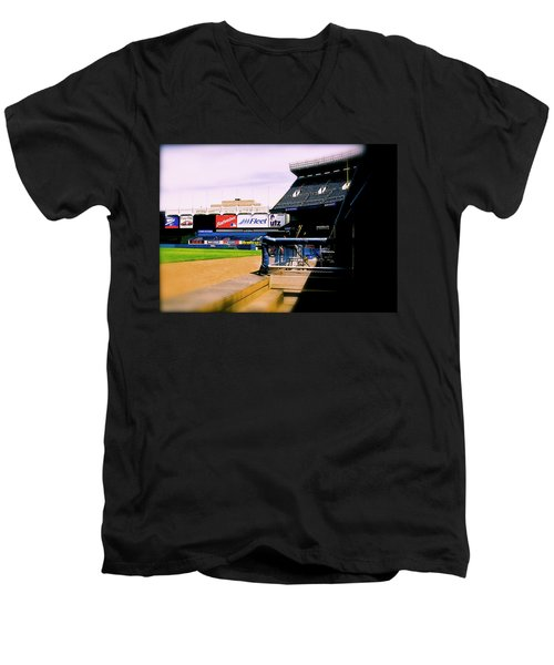 From The Dugout  The Yankee Stadium Men's V-Neck T-Shirt by Iconic Images Art Gallery David Pucciarelli