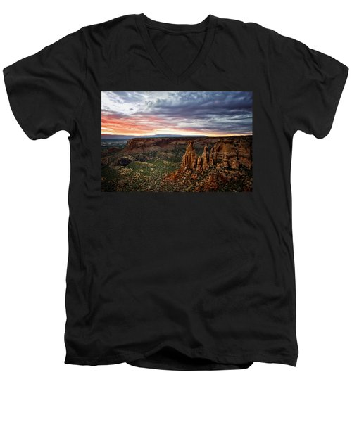 From The Overlook - Colorado National Monument Men's V-Neck T-Shirt by Ronda Kimbrow
