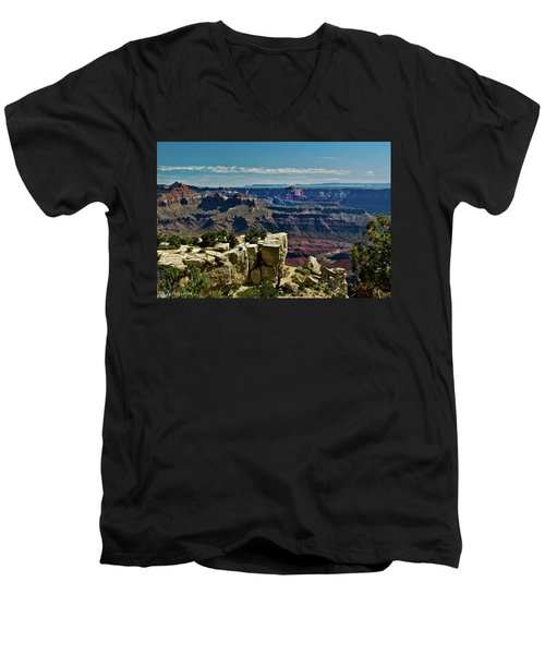 Men's V-Neck T-Shirt featuring the photograph From Yaki Point 2 Grand Canyon by Bob and Nadine Johnston