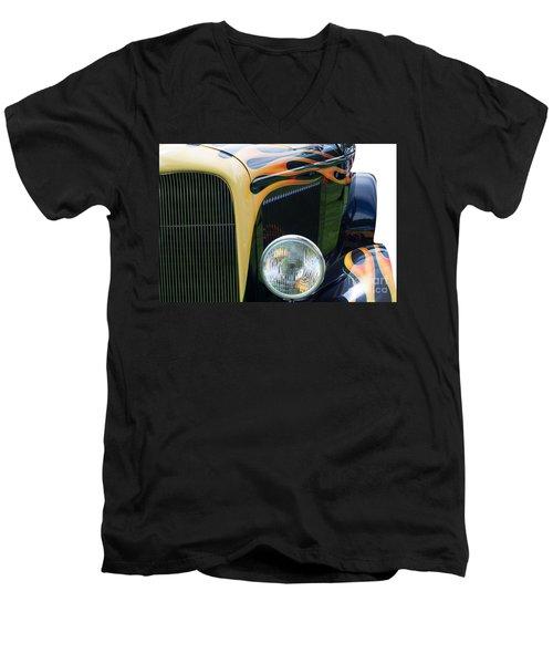Men's V-Neck T-Shirt featuring the photograph Front Of Hot Rod Car by Gunter Nezhoda