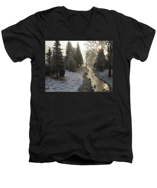 Men's V-Neck T-Shirt featuring the painting Frozen Light by Felicia Tica