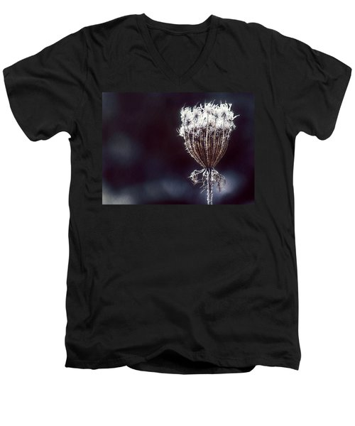 Men's V-Neck T-Shirt featuring the photograph Frozen Wisps by Melanie Lankford Photography