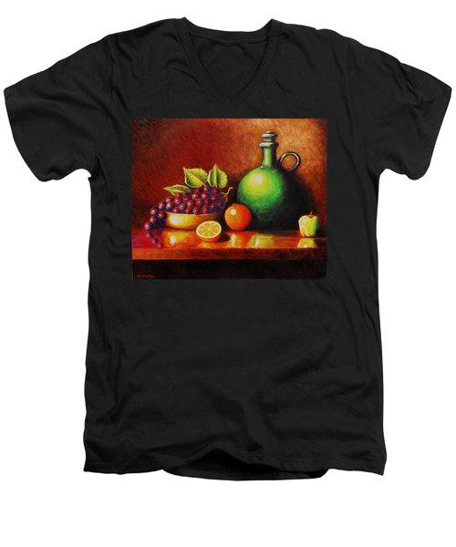 Men's V-Neck T-Shirt featuring the painting Fruit And Jug by Gene Gregory