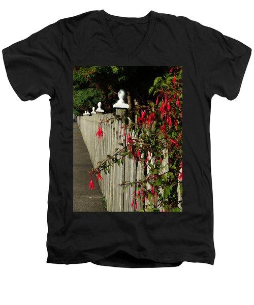 Fuchsias  And Fence Posts Men's V-Neck T-Shirt
