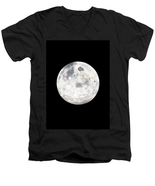 Men's V-Neck T-Shirt featuring the painting Full Moon In Black Night by Janice Dunbar