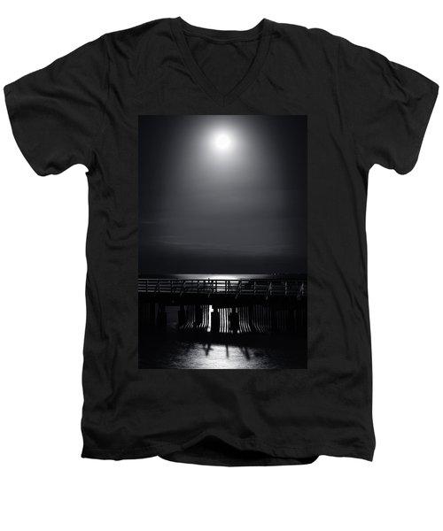 Full Moon Over Bramble Bay Men's V-Neck T-Shirt