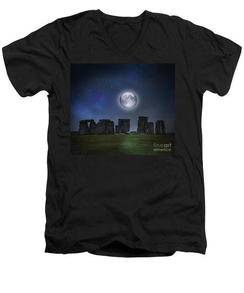 Full Moon Over Stonehenge Men's V-Neck T-Shirt