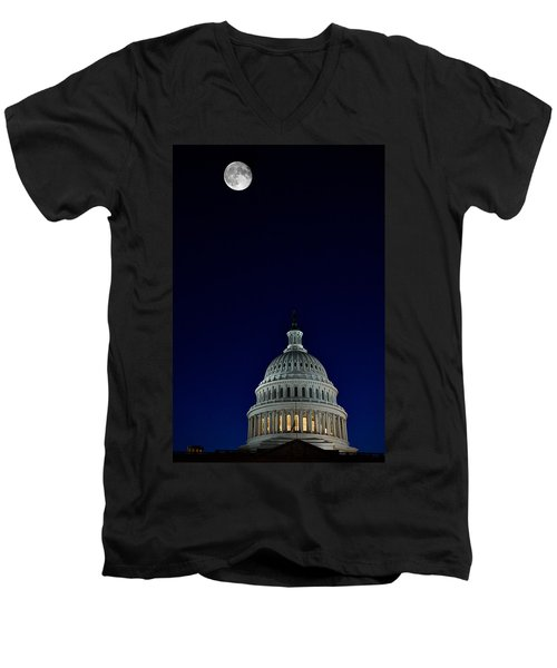 Full Moon Over Us Capitol Men's V-Neck T-Shirt by Lawrence Boothby