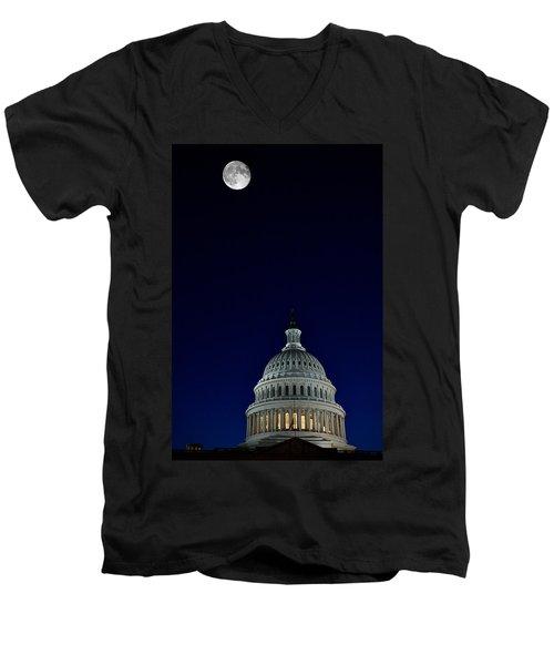 Full Moon Over Us Capitol Men's V-Neck T-Shirt