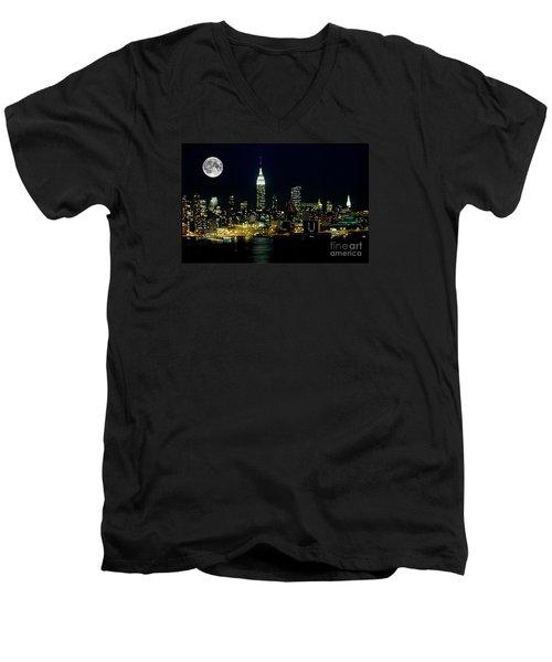 Full Moon Rising - New York City Men's V-Neck T-Shirt by Anthony Sacco