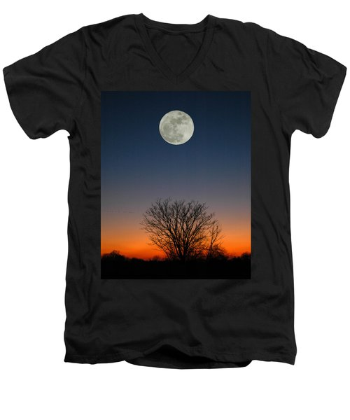 Men's V-Neck T-Shirt featuring the photograph Full Moon Rising by Raymond Salani III