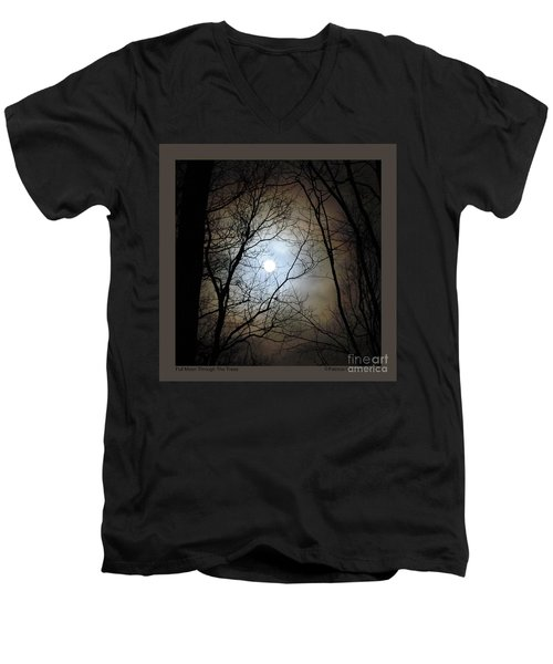 Full Moon Through The Trees Men's V-Neck T-Shirt by Patricia Overmoyer