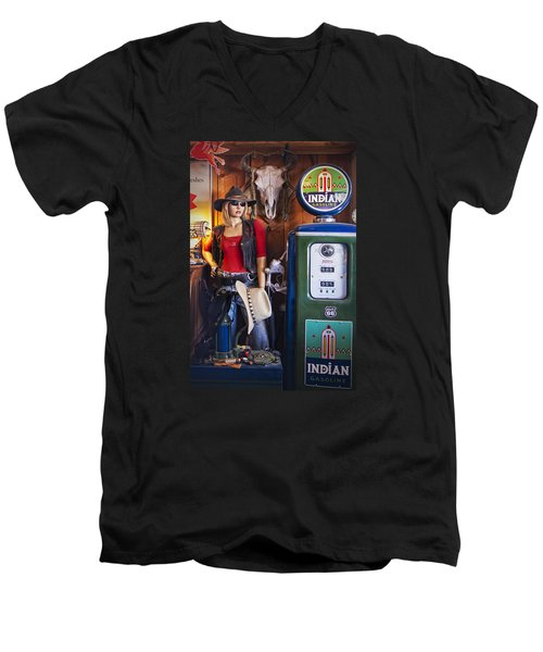 Full Service Route 66 Gas Station Men's V-Neck T-Shirt by Priscilla Burgers
