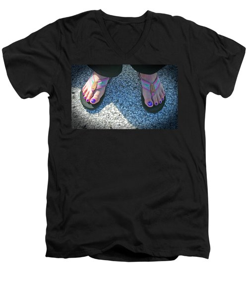 Men's V-Neck T-Shirt featuring the photograph Fun Feet by Emmy Marie Vickers