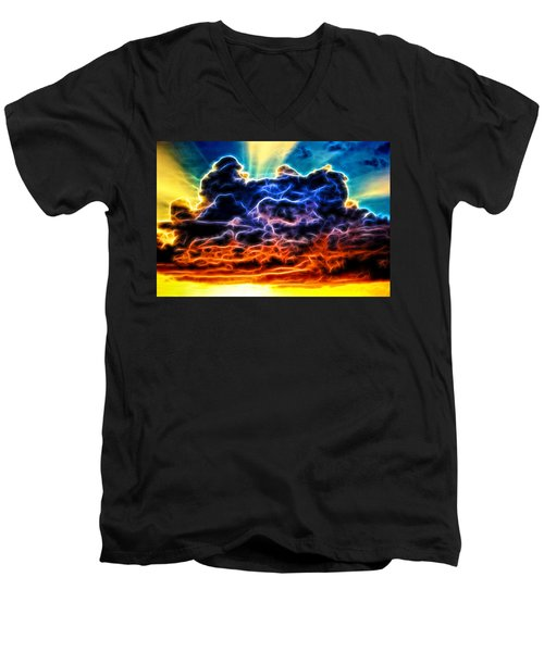 Funky Glowing Electrified Rainbow Clouds Abstract Men's V-Neck T-Shirt