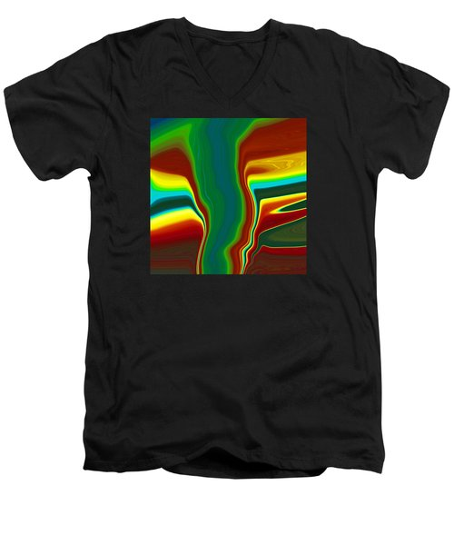 Men's V-Neck T-Shirt featuring the painting Funnel Cloud  C2014 by Paul Ashby
