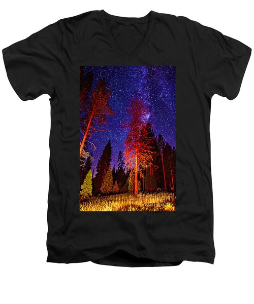 Men's V-Neck T-Shirt featuring the photograph Galaxy Stars By The Campfire by Jerry Cowart