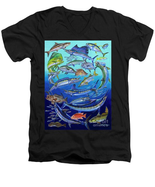 Gamefish Collage In0031 Men's V-Neck T-Shirt by Carey Chen