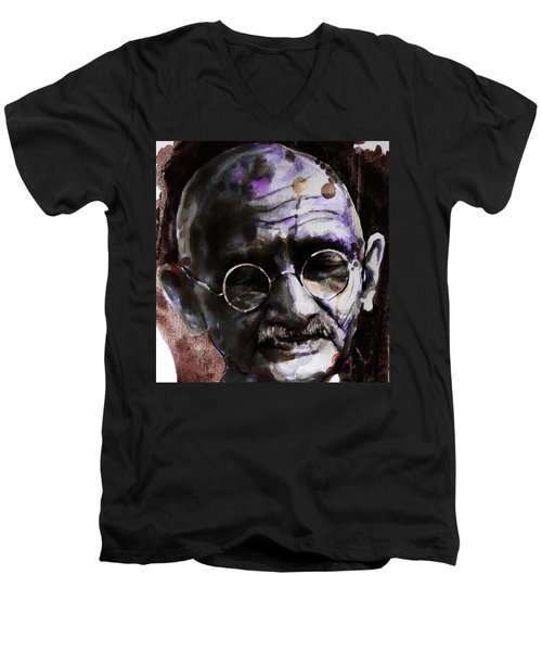 Men's V-Neck T-Shirt featuring the painting Gandhi by Laur Iduc