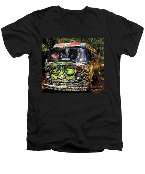 Garcia Vw Bus Men's V-Neck T-Shirt by Angela Murray