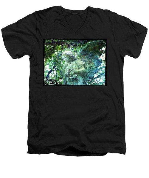 Men's V-Neck T-Shirt featuring the digital art Garden Angel - Divine Messenger by Absinthe Art By Michelle LeAnn Scott