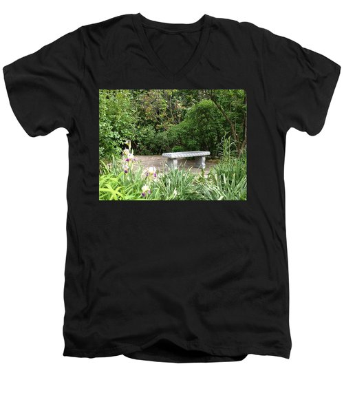 Garden Bench Men's V-Neck T-Shirt by Pema Hou