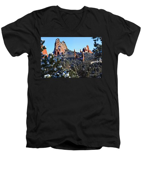 Men's V-Neck T-Shirt featuring the photograph Garden Of The Gods After Snow Colorado Landscape by Jon Holiday