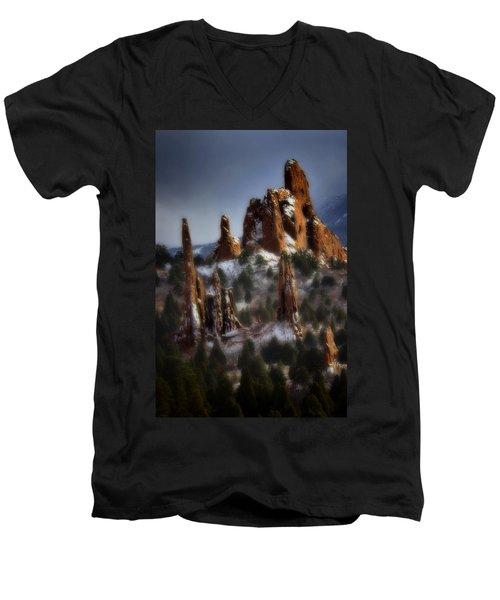 Men's V-Neck T-Shirt featuring the photograph Garden Of The Gods by Ellen Heaverlo