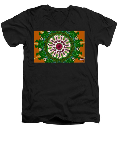 Men's V-Neck T-Shirt featuring the digital art Garden Party #2 by Elizabeth McTaggart