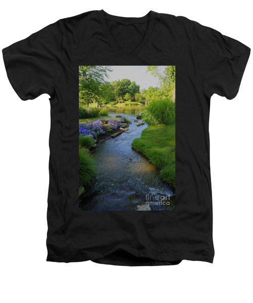 Garden Stream Hdr #9795 Men's V-Neck T-Shirt