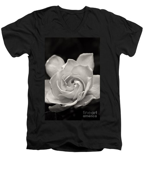 Gardenia Bloom In Sepia Men's V-Neck T-Shirt