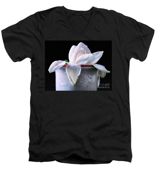 Men's V-Neck T-Shirt featuring the photograph Gardenia In Coffee Cup by Silvia Ganora