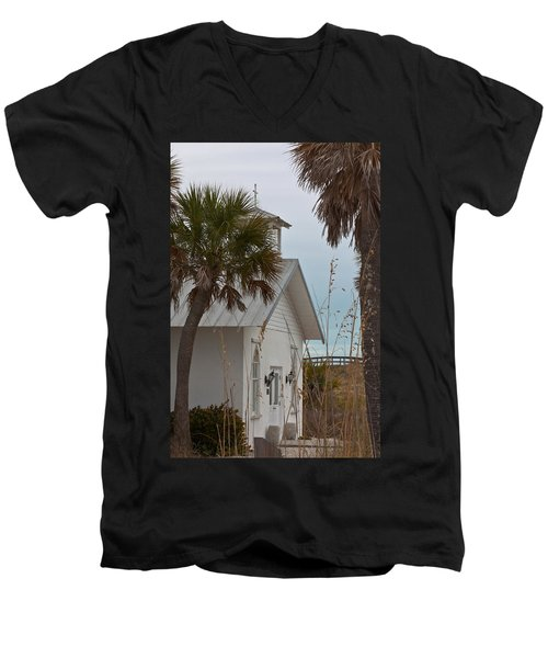 Men's V-Neck T-Shirt featuring the photograph Gasparilla Island State Park Chapel by Ed Gleichman