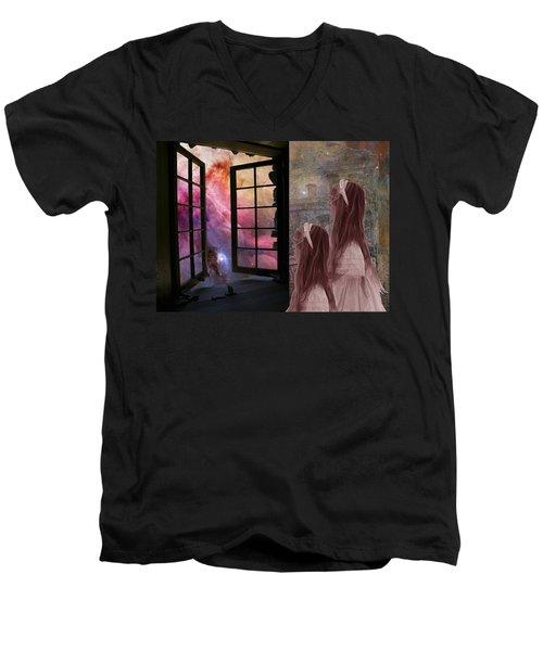 Gates Of Heaven-regarder La Fin Du Monde Men's V-Neck T-Shirt