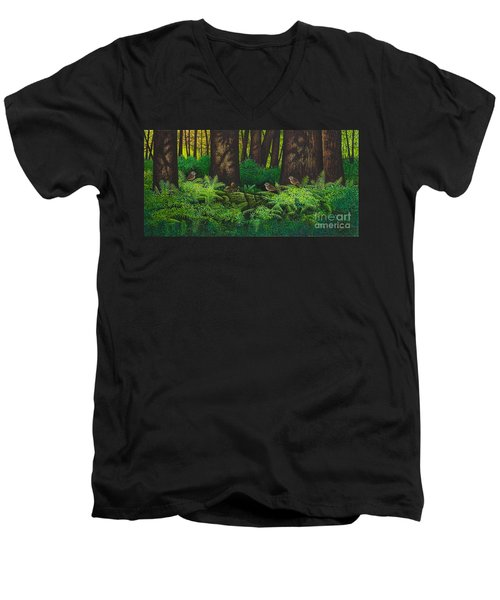 Gathering Among The Ferns Men's V-Neck T-Shirt