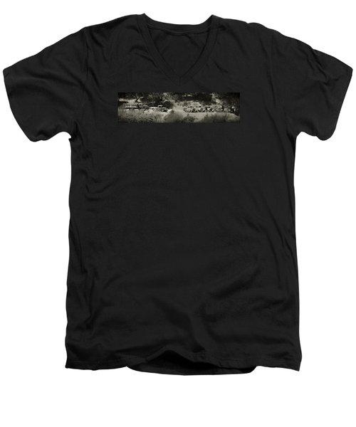 Gathering Black And White Men's V-Neck T-Shirt