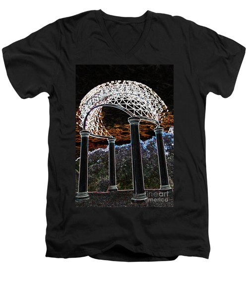 Men's V-Neck T-Shirt featuring the photograph Gazebo 1 by Minnie Lippiatt