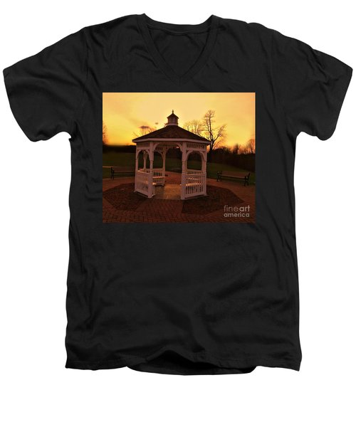 Men's V-Neck T-Shirt featuring the photograph Gazebo In Sunset by Becky Lupe