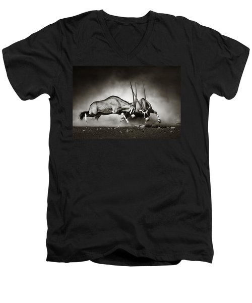 Gemsbok Fight Men's V-Neck T-Shirt