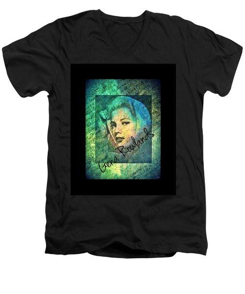 Men's V-Neck T-Shirt featuring the digital art Gena Rowlands by Absinthe Art By Michelle LeAnn Scott